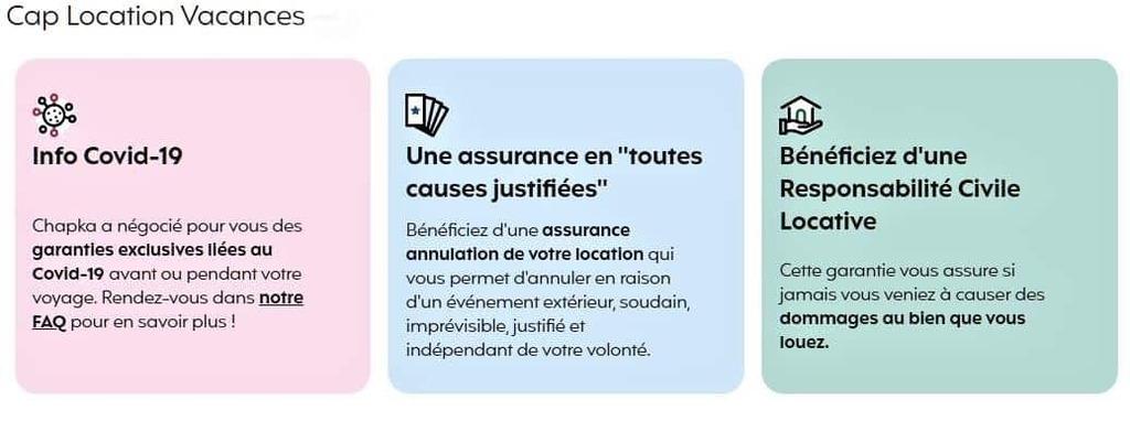 suggestion d'assurance annulation de Chapka Direct option Cap Location Vacances
